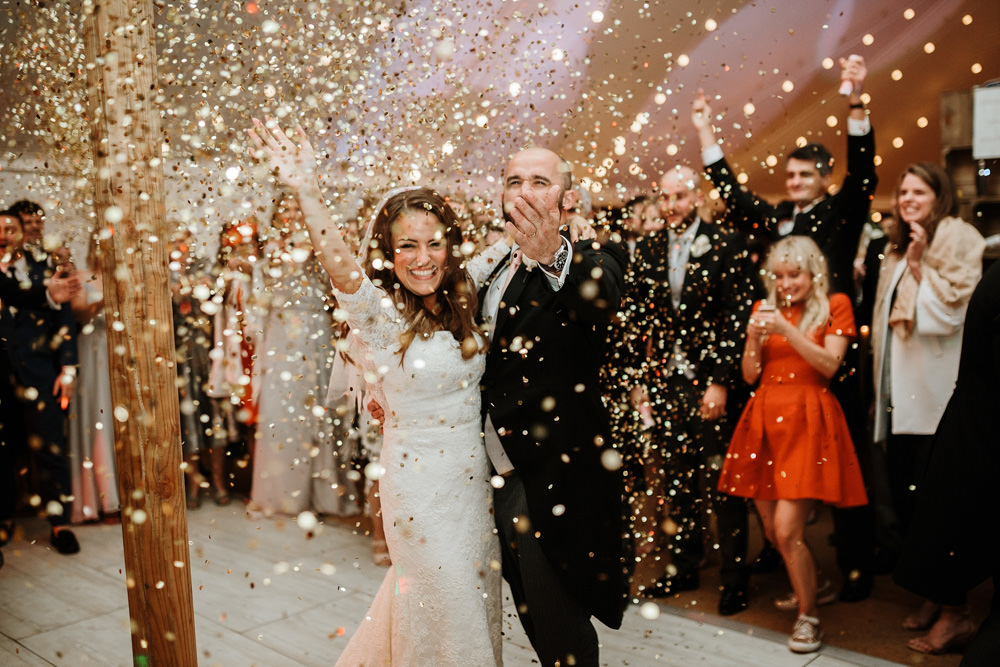 dance sparklers during private property marquee wedding