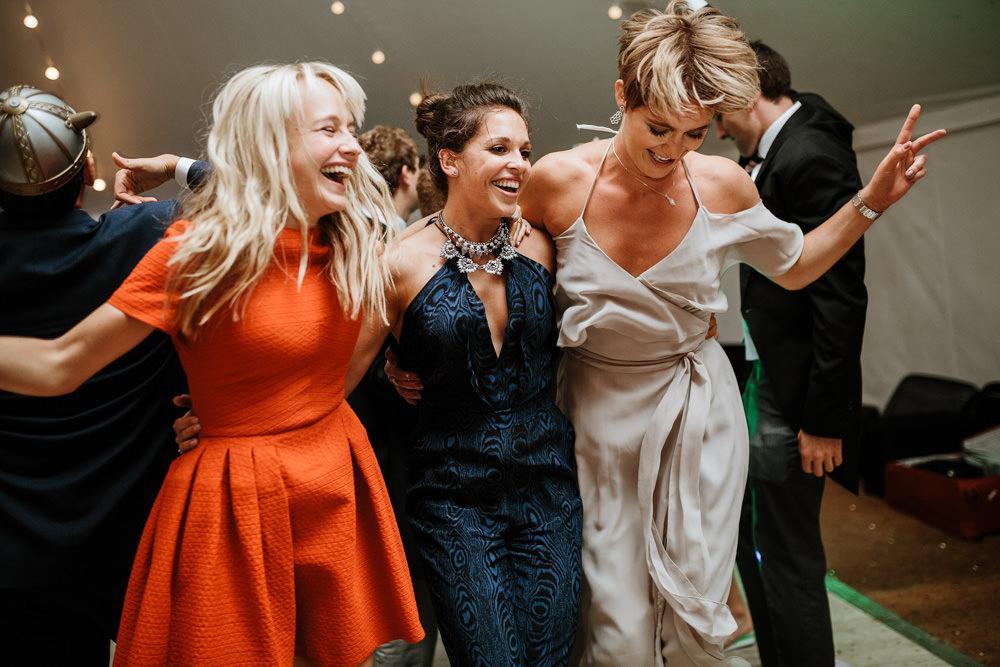guests dancing during marquee wedding dorset