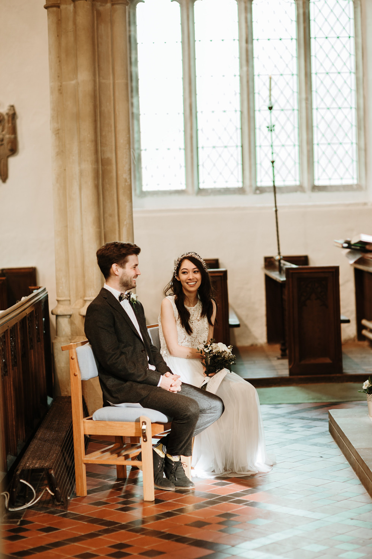 bride and groom during bristol wedding ceremony