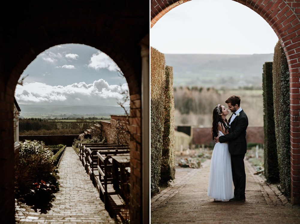 bride and groom portraits with views from the ethicurean wedding reception