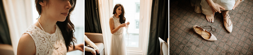 bride getting ready for her intimate wedding