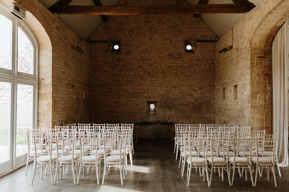 chairs in Lapstone Barn for wedding ceremony