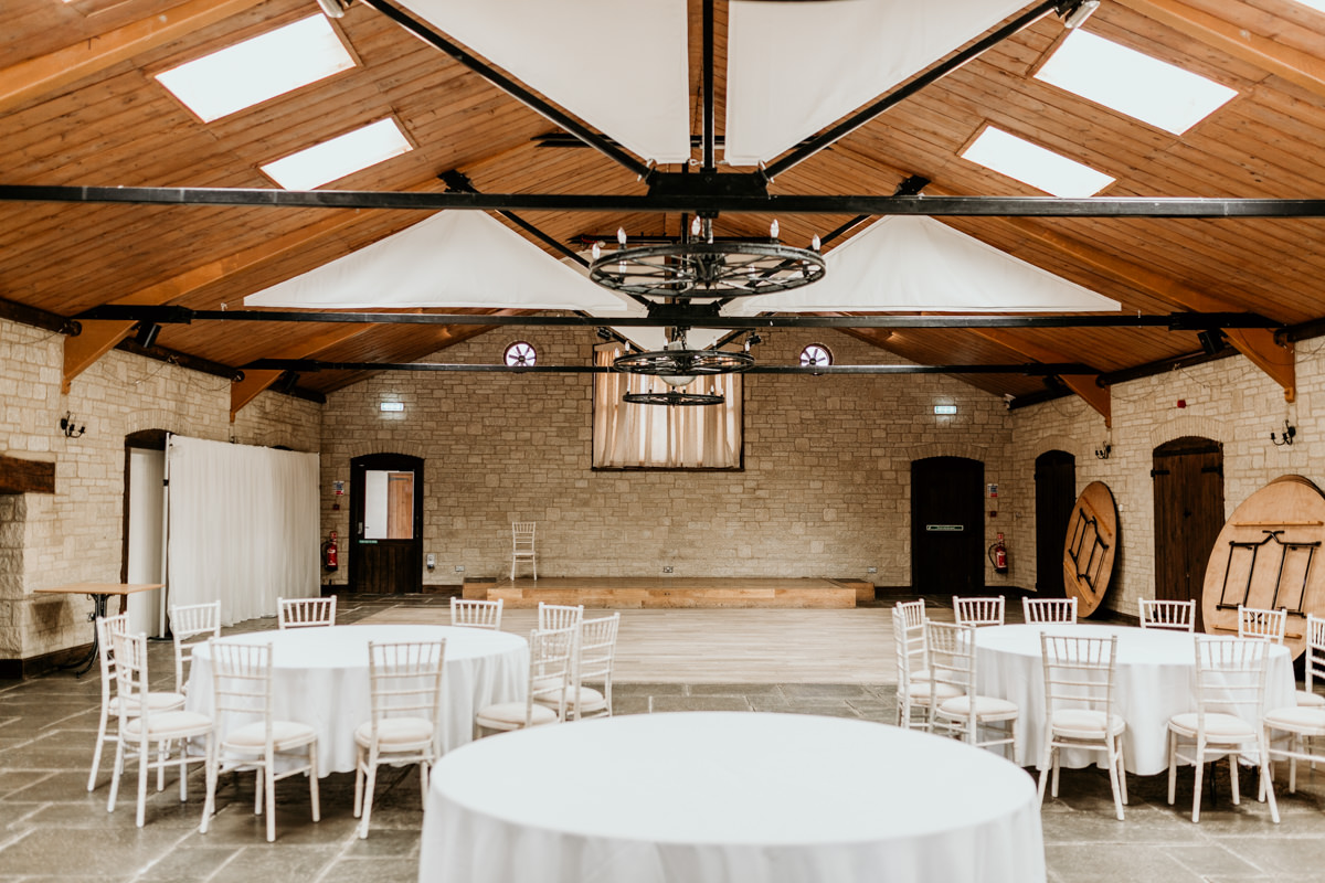 wedding reception at The Barn at Berkeley Wedding Venue Cotswolds | Green Antlers Photography