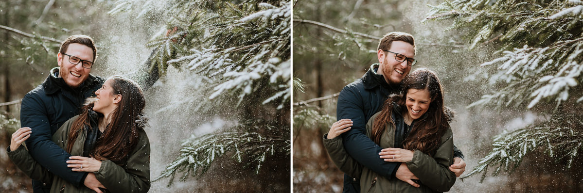 snowy engagement in Wyre Forest England