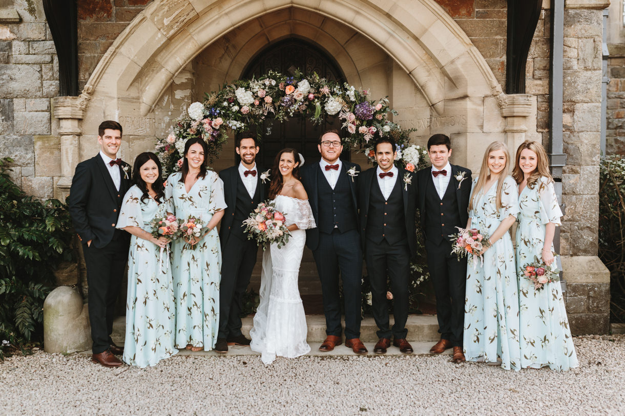 bridesmaids and groomsmen by Wales wedding photographers