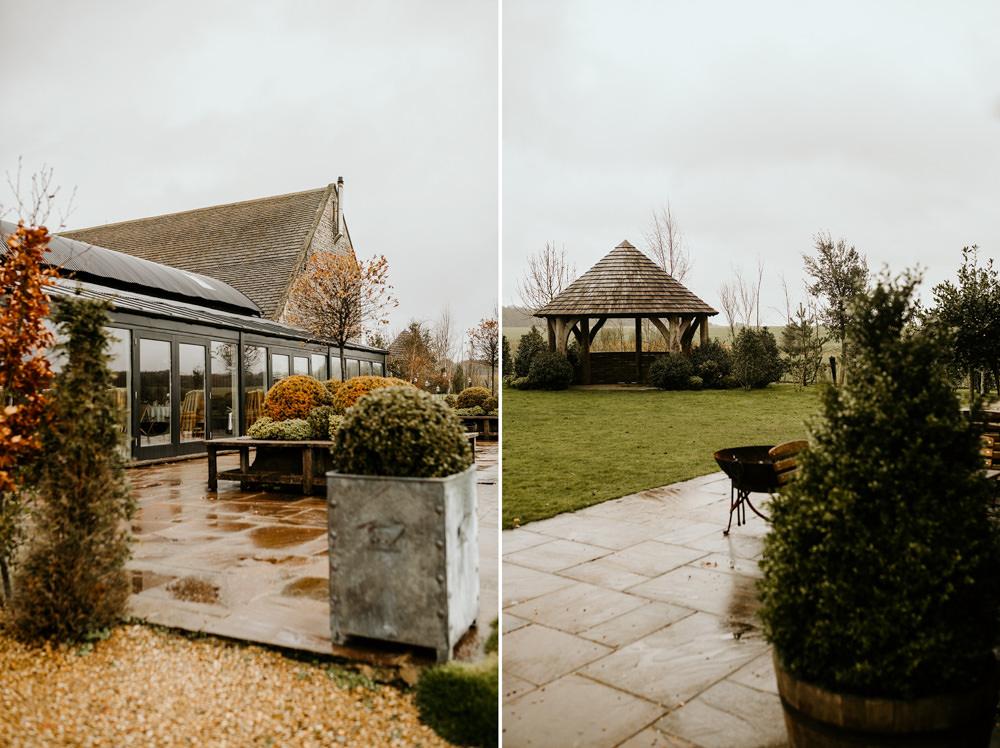 Stone barn garden area for wedding