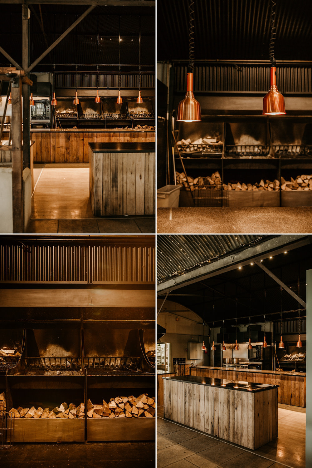 industrial kitchen with copper and open fire at Stone Barn Cotswolds wedding venue