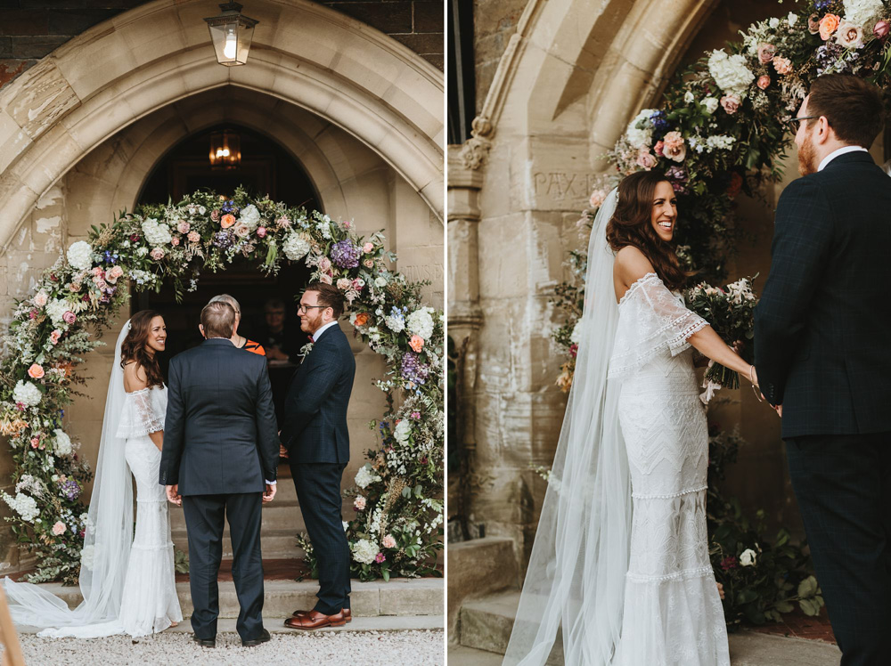 outdoor wedding ceremony Plas Dinam country house
