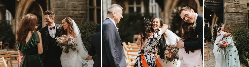 bride and groom greeting guests after their outdoor wedding ceremony at plas dinam country house