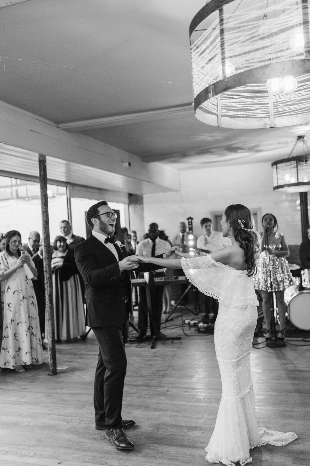 black and white image of plas dinam country house wedding reception first dance