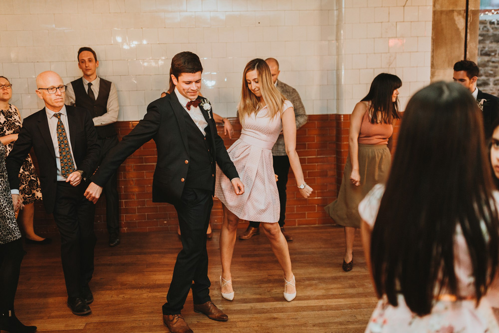 guests dance at plas dinam country house wedding reception