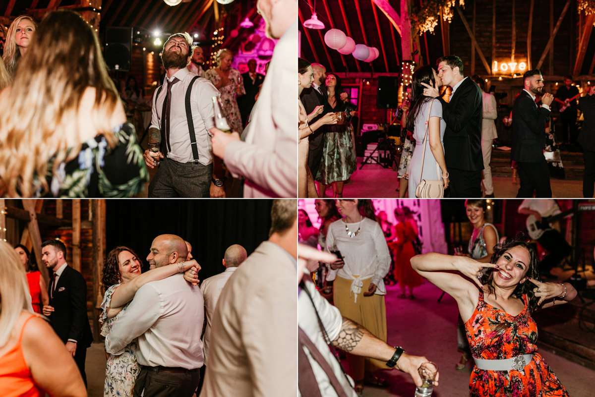 guests dance during the reception at preston court wedding venue by Canterbury wedding photographers