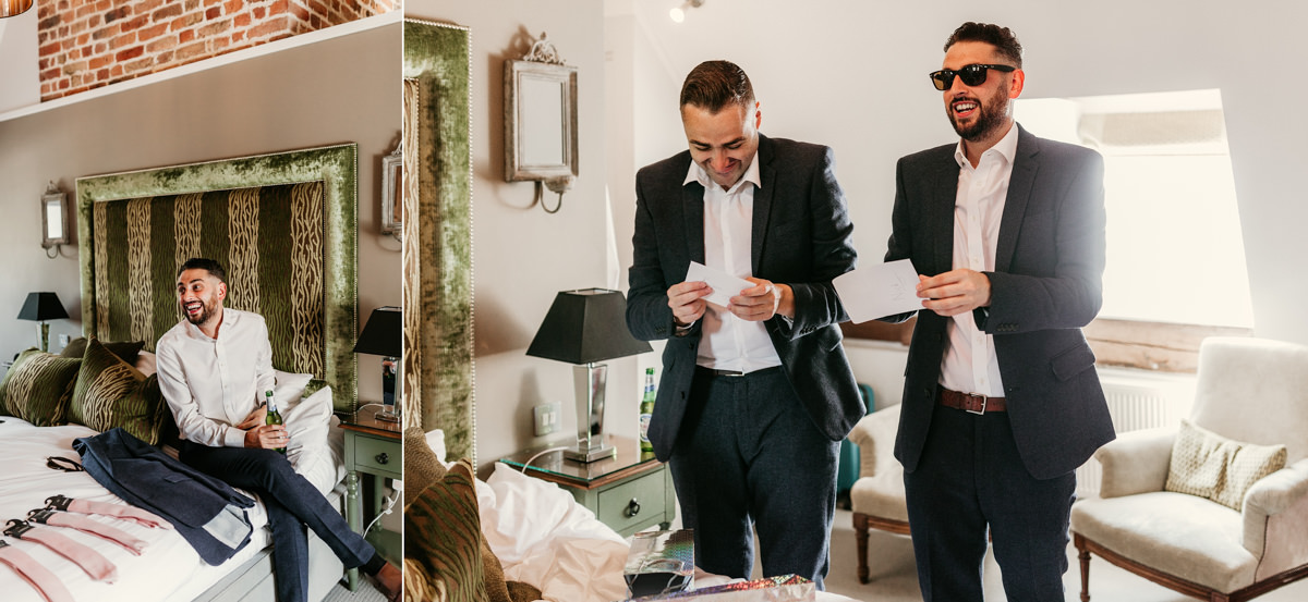 groomsmen getting ready in hotel room before wedding