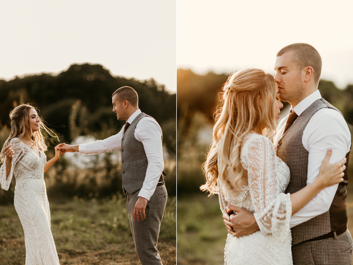 golden hour during wedding portraits at preston court wedding venue by Canterbury wedding photographers