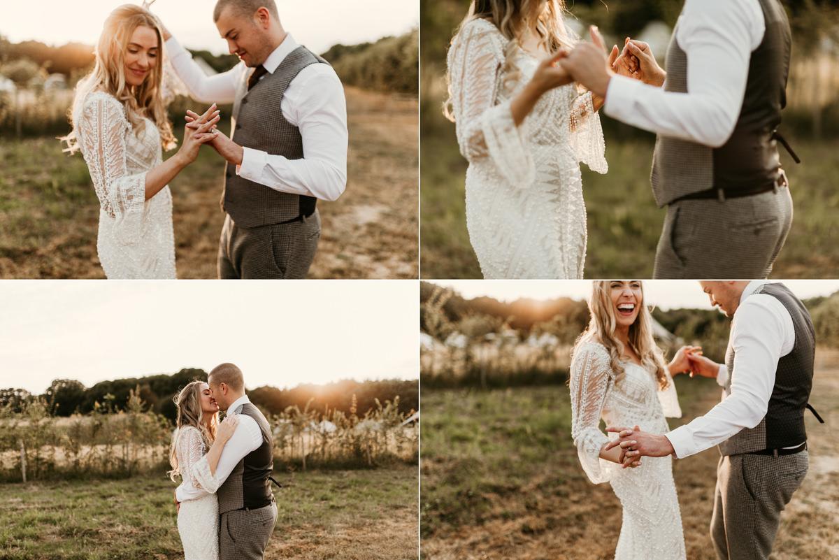 fun wedding portraits at preston court wedding venue by Canterbury wedding photographers