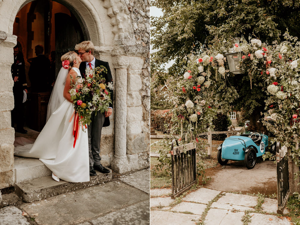 bride and groom kiss outside church after church wedding ceremony Chichester