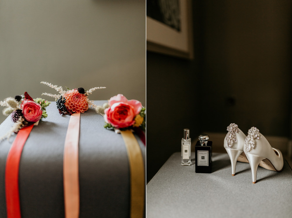 Jo Malone perfume and shoes with wrist flowers for wedding details at Goodwood