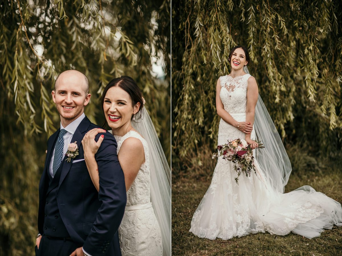 bride and groom photos at Merriscourt Barn Wedding venue by Cotswolds wedding photographer