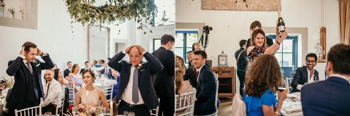 head and tail game during the reception at Merriscourt Barn Wedding venue by Cotswolds wedding photographer