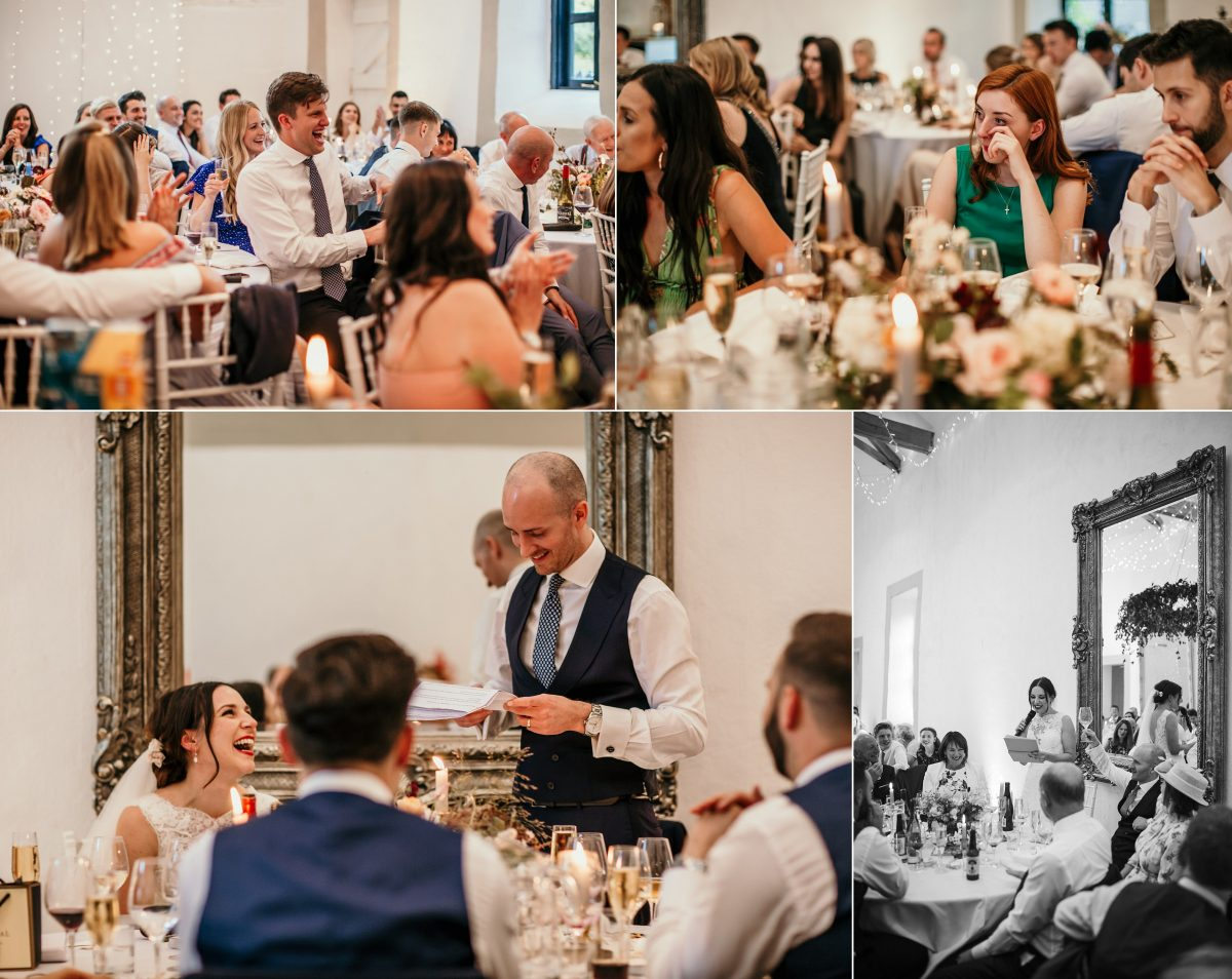 guests laughing or crying during the wedding speeches at Merriscourt Barn Wedding venue by Cotswolds wedding photographer
