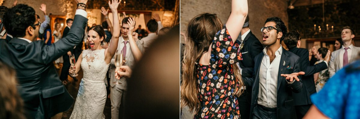 wedding party in the evening with live band during the reception t Merriscourt Barn Wedding venue by Cotswolds wedding photographer