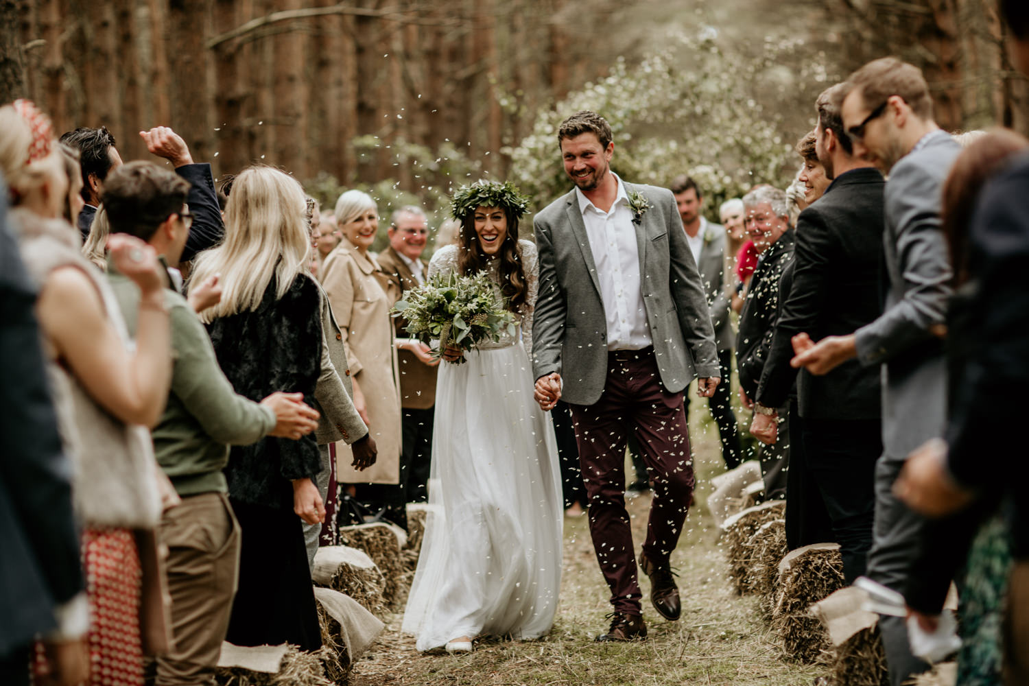 confetti after an outdoor forest wedding ceremony at Harvest Moon Holidays Scotland