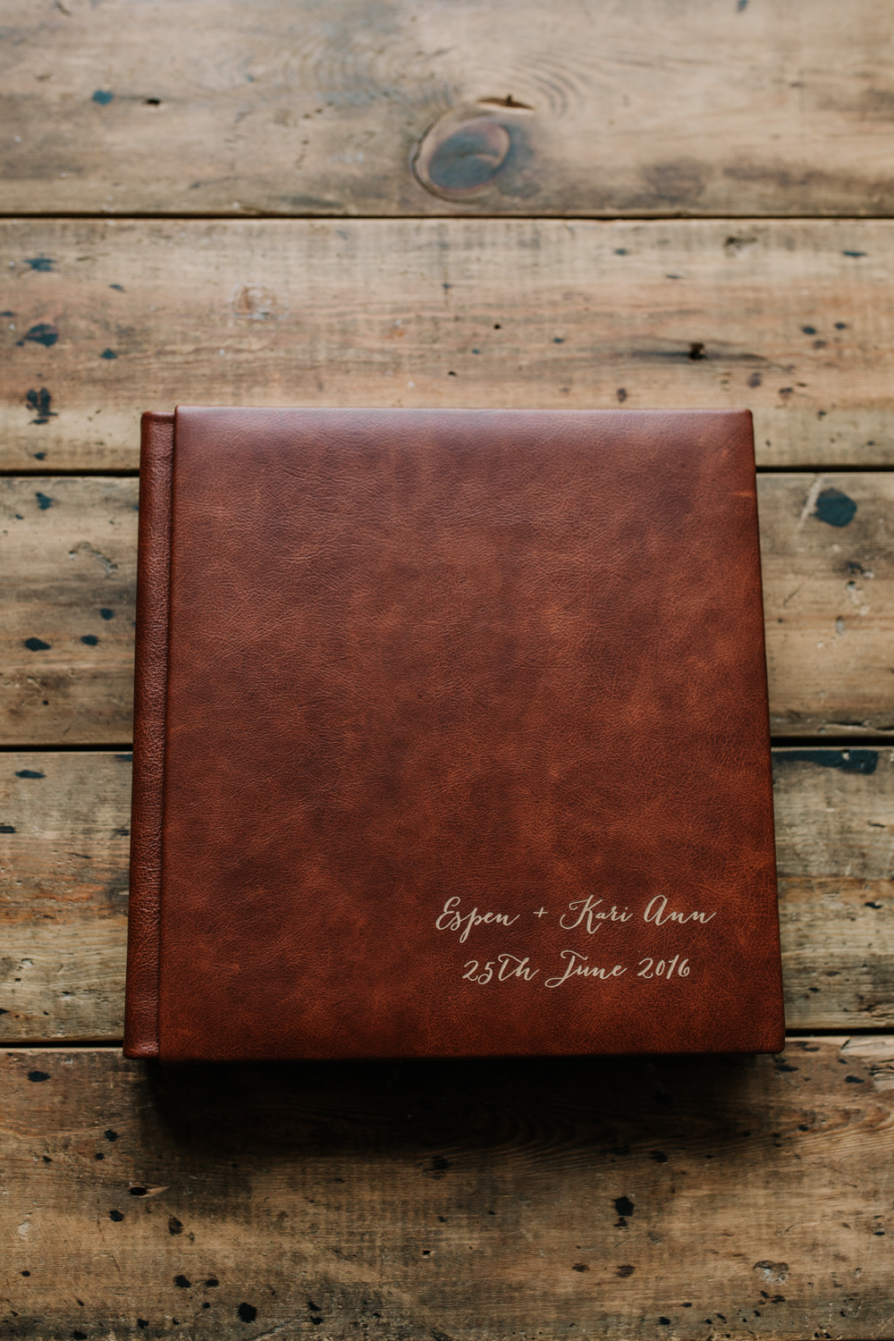 brown leather cover engraved wedding album