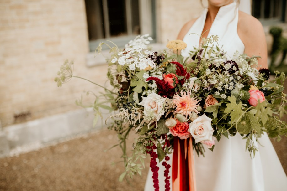 a giant bohemian wedding bouquet for a Goodwood country house wedding