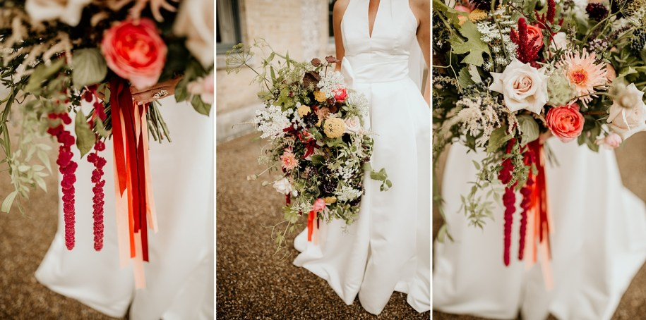 a very big and colourful bohemian wedding bouquet for a bride