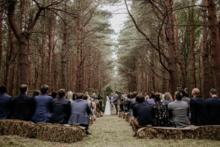 pine tree forest outdoor wedding ceremony
