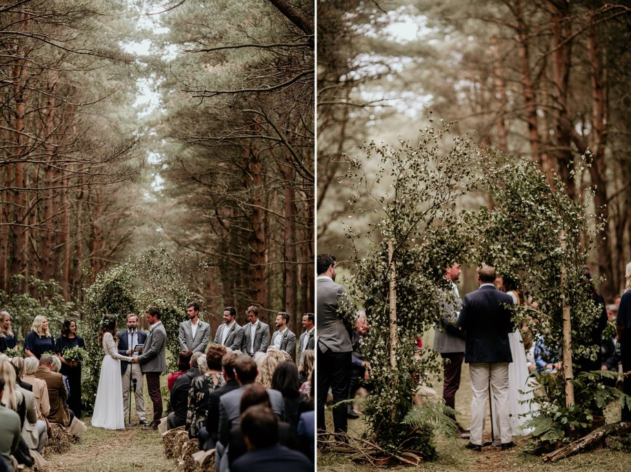 outdoor wedding ceremony in a Scotland forest