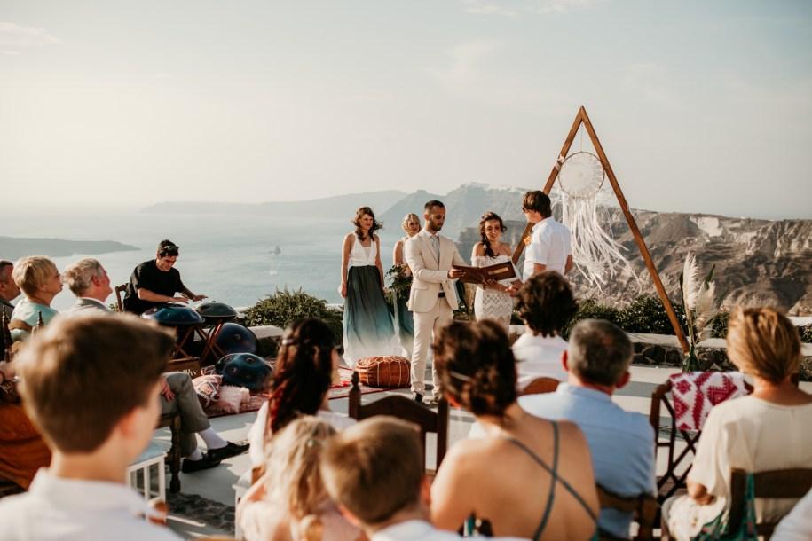 outdoor wedding ceremony at Venetsanos Winery Santorini