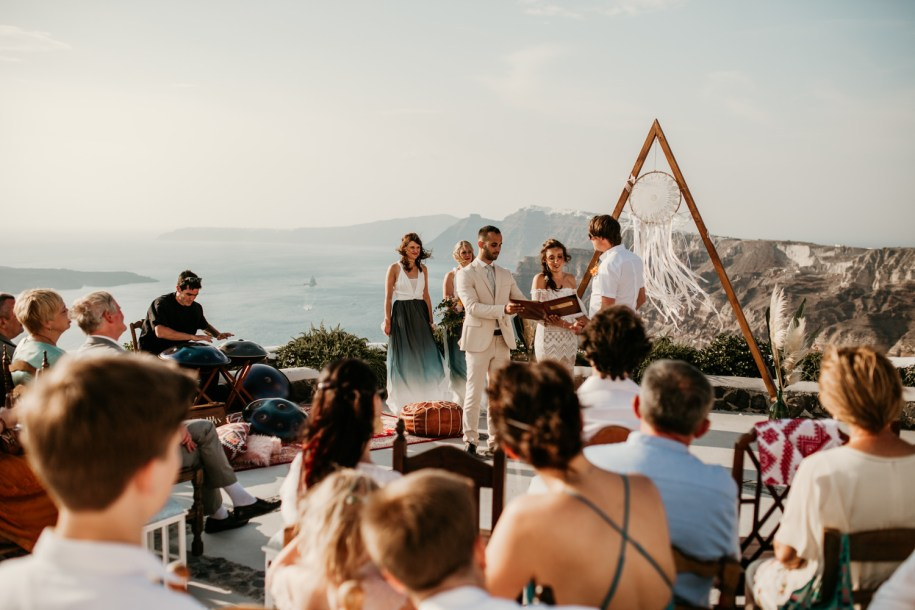 outdoor wedding ceremony at Venetsanos Winery Santorini