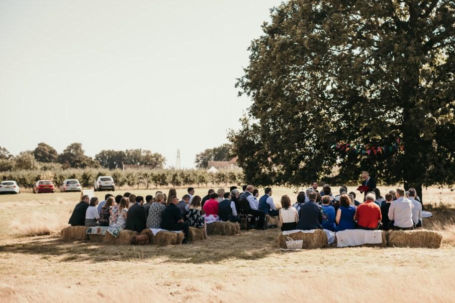 outdoor wedding ceremony under an oak tree
