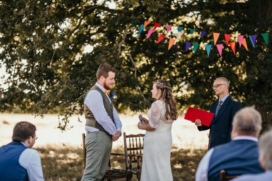 outdoor wedding ceremony at Cherry barn