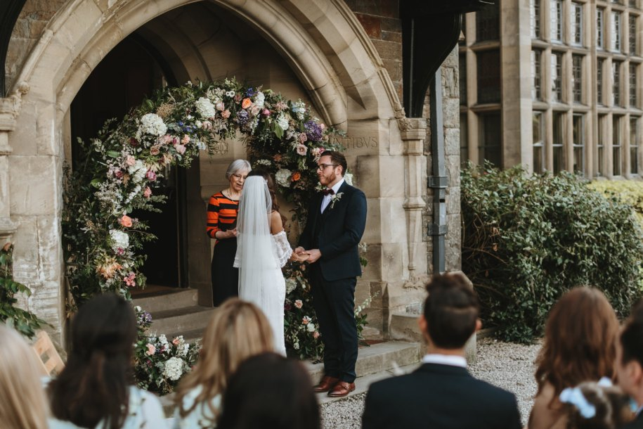 outdoor wedding ceremony at Plas Dinam Country House Wales