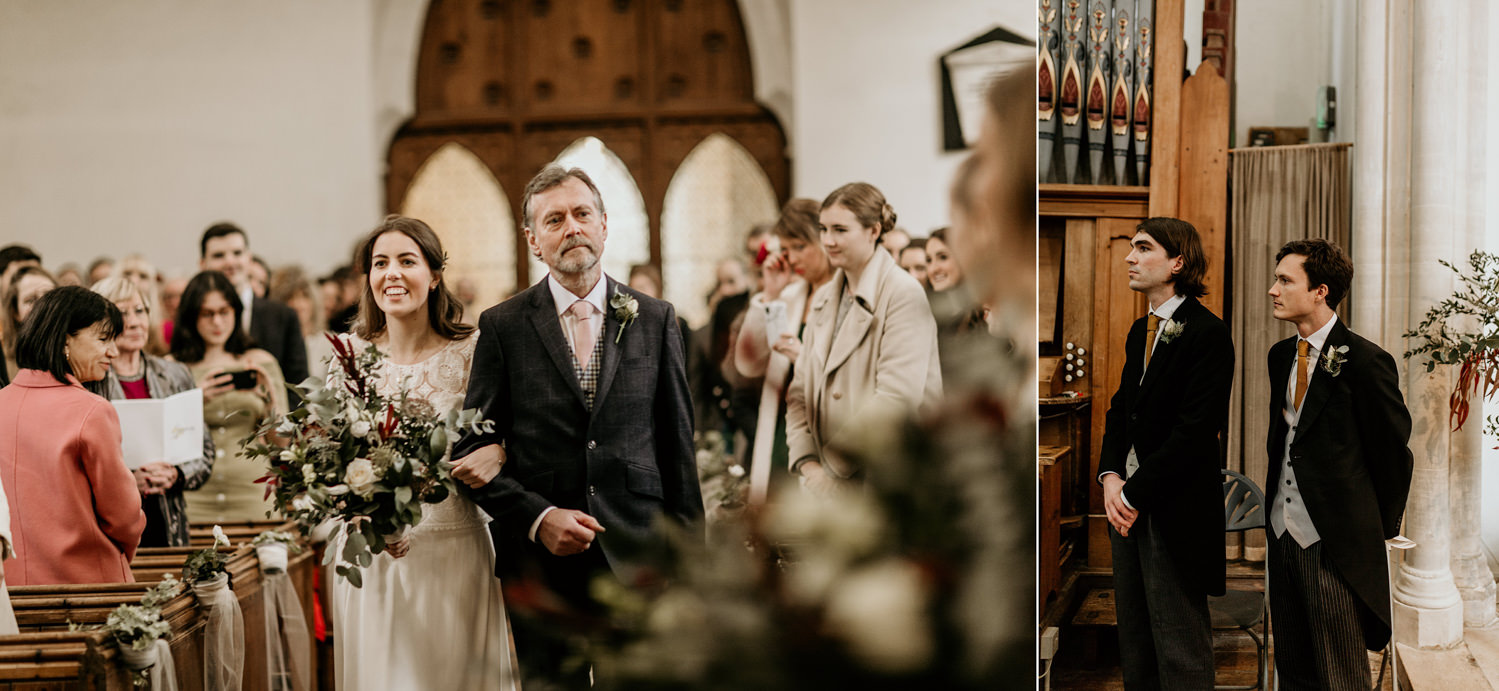bride and father walking down the aisle during the church wedding ceremony Stroud Cotswolds