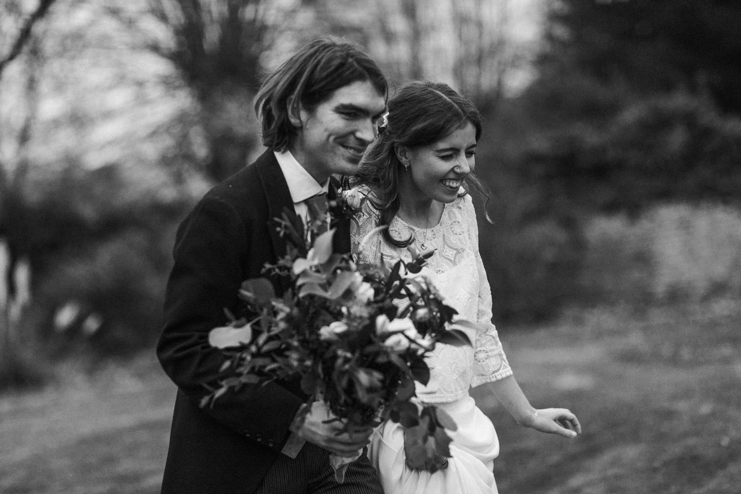 black and white portraits during the wedding portraits in Stroud by Cotswolds wedding photographers