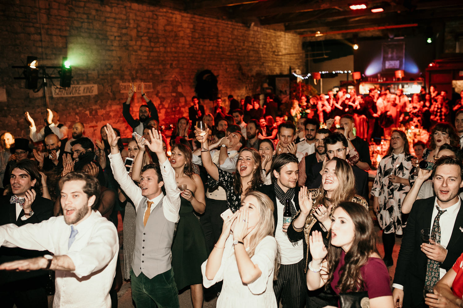 guests at The Goods shed in Stroud during a Stroud Wedding in Cotswolds