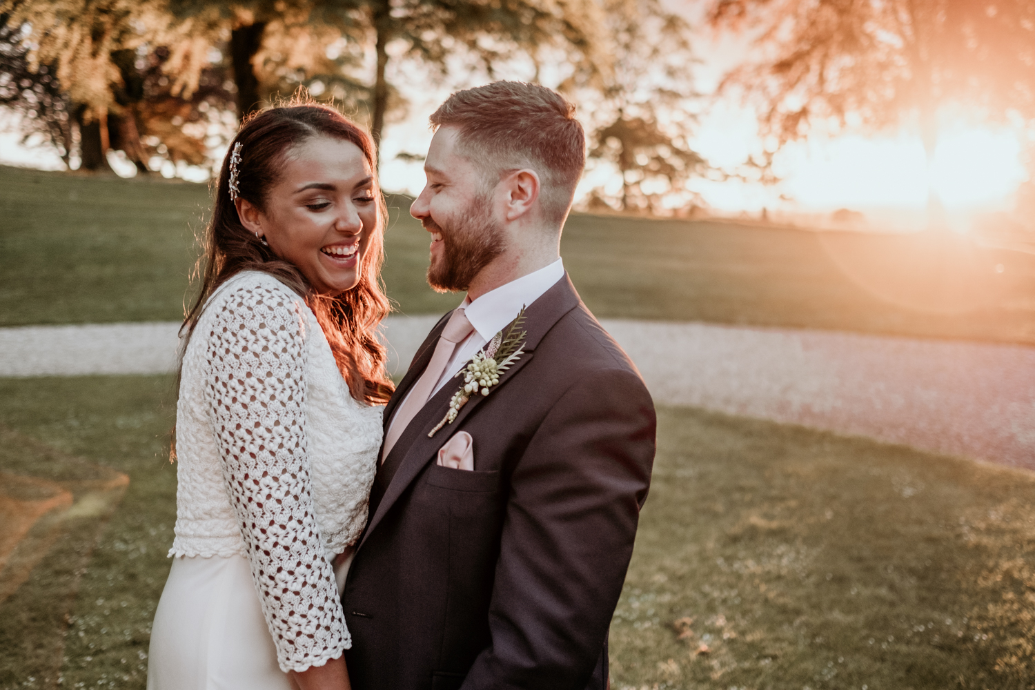 golden hour wedding portrait at Coombe Lodge Blagdon wedding venue