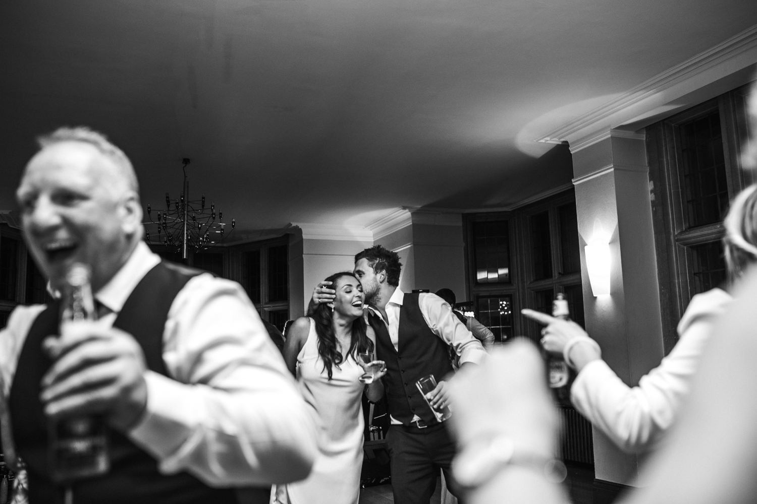 bride with guests on dance floor at Coombe Lodge Blagdon wedding venue
