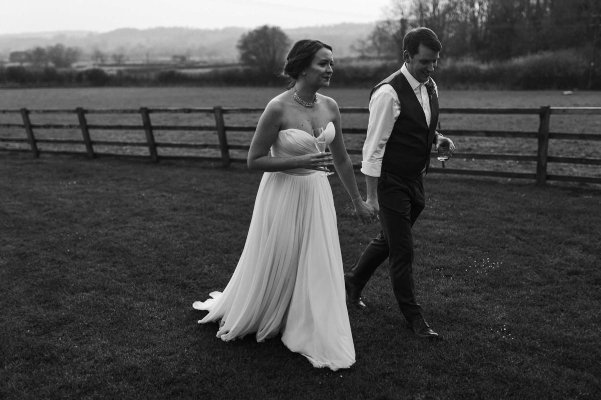 black and white image of bride and groom at hyde house wedding venue