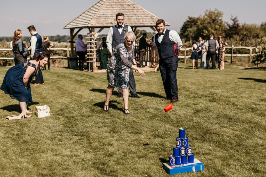 wedding cocktail hour games bowling pins