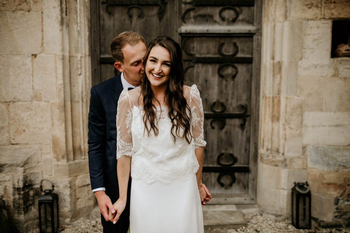 bride and groom wedding portraits at Priors Court Barn Gloucester