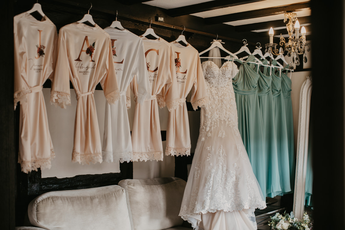 wedding dress and robes for a Shustoke Barn wedding in Warwickshire