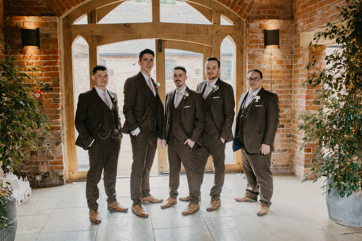 groom and groomsmen at Shustoke Barn waiting for the bride