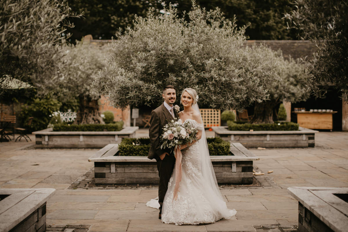 bride and groom during wedding portraits at Shustoke Barn wedding venue