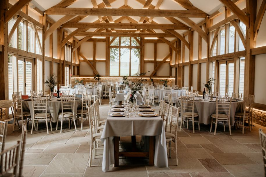 reception and dining area at mickleton hills farm wedding venue