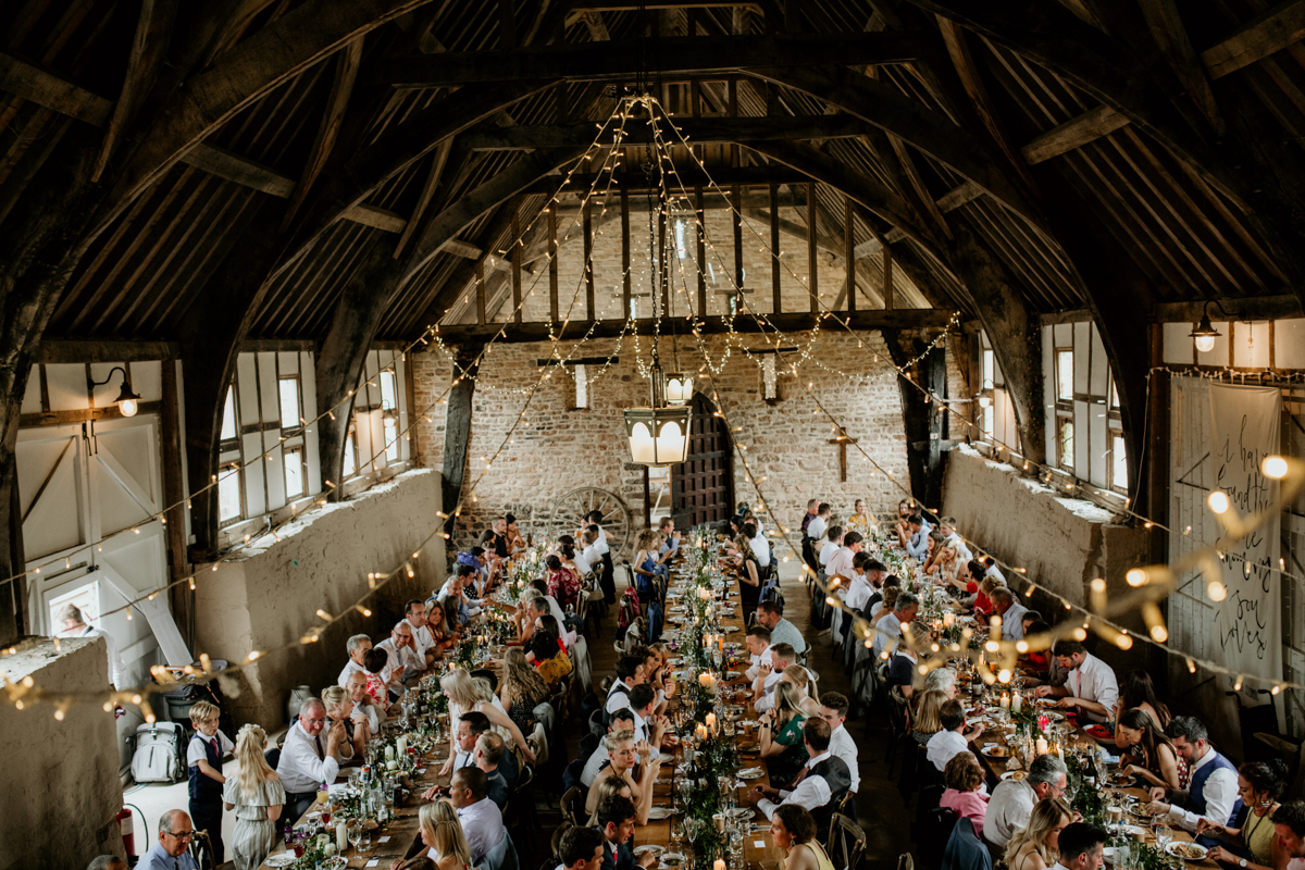 wedding reception at priors court barn in gloucestershire