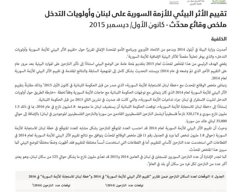التقرير الثاني لتقييم الأثر البيئي للأزمة السورية على لبنان
